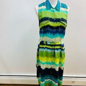 W by Worth Dress 12 Midi Blue Green Ombre     M56